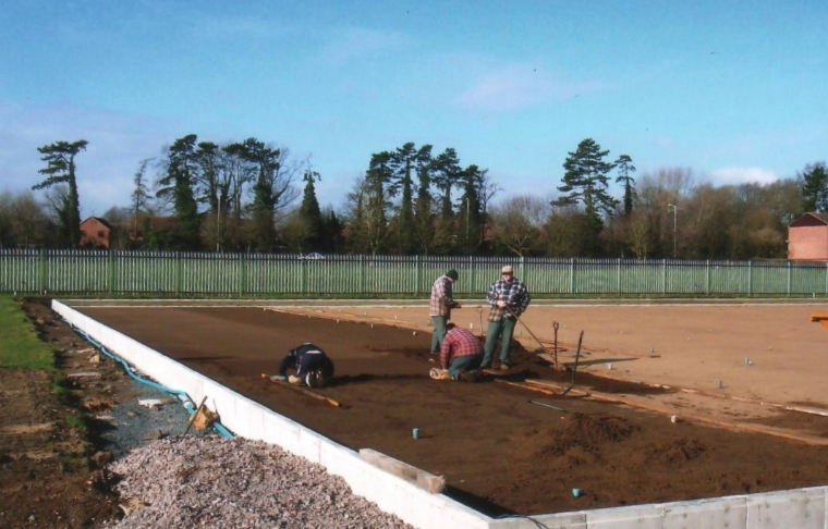 Building a bowls green. North wilts Bowls Clu